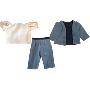 Three Piece Antique Boy Outfit for Bisque Dolls
