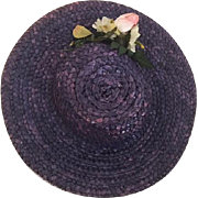 Navy Blue Straw Hat with Flowers 1930s