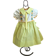 Green and Yellow Pique Doll Dress 1950s