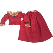 Antique Amaranth Pink Two Piece Doll Outfit for Bisque or China Heads 1890