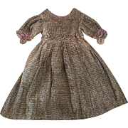 Antique Doll Dress with French Metallic Thread Hand-Stitched