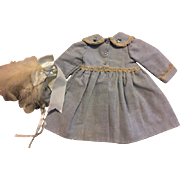 Beautiful Chambray Coat and Hat for Bisque, Composition, Hard Plastic Dolls