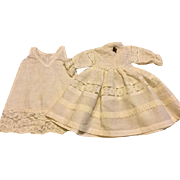 White Cotton and Lace Doll Dress and Slip for French or German Bisque