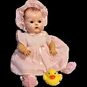 "Rare Early 15"" Pink Dimity Tiny Tears Dress, Bonnet, Slip"