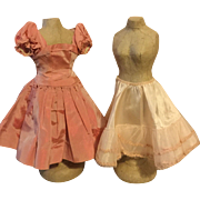 "Beautiful Taffeta Kissing Pink 20"" Miss Revlon Dress and Slip 1950s"