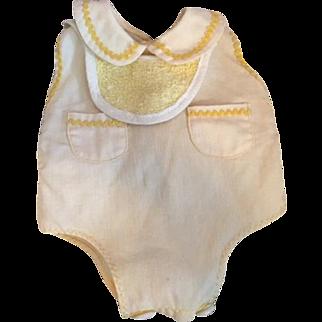 Yellow Pique Tiny Tears Baby Romper 1950s