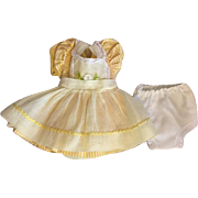 Yellow Cotton and Organdy Pinafore Dress for Hard Plastic Dolls 1950s