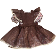Two Piece Cotton and Organdy Dress and Pinafore for Large Dolls 1950s