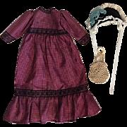 Antique Dress, Bonnet, Purse for Bisque Dolls 1900