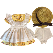 Dress, Pinafore, unders, Straw Hat for Composition Dolls 1940