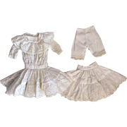Three Piece Vintage Eyelet Dress, Slip, Pantaloons for French or German Bisque Bebe