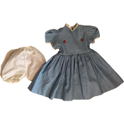 Large Blue Dress and Underwear for Large Dolls 1950s