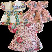 Three Charming Feed sack Doll Dresses