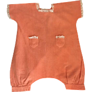 Deep Coral Gauze Romper for Large Bisque Baby Dolls 1920