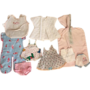 Nine Piece Layette for Small Tiny Tears and Friends 1950s