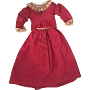 Two Piece Deep Pink Antique Doll Dress for Bisque Dolls