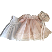 Pink Organdy Baby Doll Dress, Slip, and Bonnet