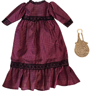 Antique Taffeta Dress for Bisque Dolls