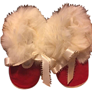 Red Booties with White Fur for Big Baby Dolls unused