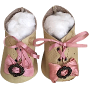 Beige Lace-Up Doll Shoes with Silk Ribbon for Bisque Bebe 9