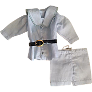 Two Piece Chambray Outfit for Bisque Dolls