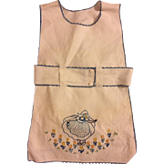Darling Girl's Embroidered Apron 1930s