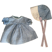 Blue checked dress and bonnet for Effanbee Patsy and friends 1930's.