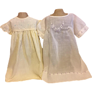 Two Vintage Baby Dresses for Big Dolls 1940s