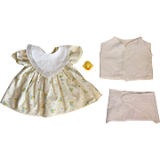 Yellow Dress, Diaper, Bed Jacket, Bib for Dy-Dee Lou and Friends 1950s