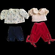 Two Fashion Doll Capri Outfits 1950s