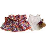 Orange and Purple Floral Print Dress, Onesie, and Purse for Patsy and Friends 1930s