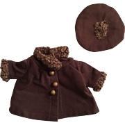 Brown Wool Coat and Hat for Patsy and Friends 1930s