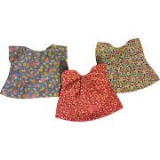 Three Feed Sack Dresses for Composition Dolls such as Patsy and Friends 1920
