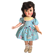 """Darling """"Peggy Ann"""" tagged Un-Used Blue Print Dress for Hard Plastic Dolls such as Toni 1952"""