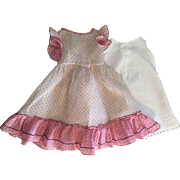 Long Dotted Organdy Dress and Slip for Composition Dolls 1930s