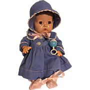 Original Effanbee Dy-Dee Ellen Blue Twill Coat and Bonnet