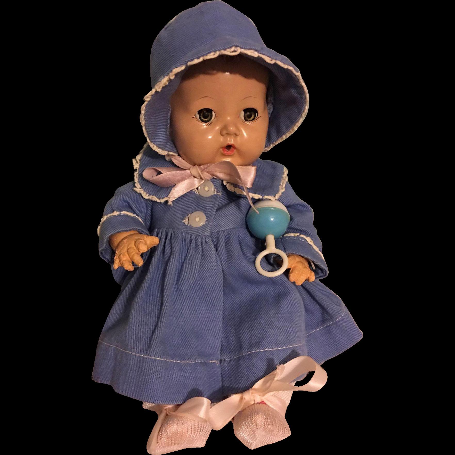 Original Effanbee Dy-Dee Ellen Blue Twill Coat and Bonnet