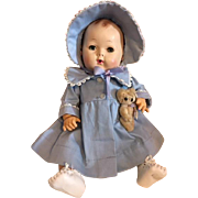 Original Blue Dy-Dee Baby Coat and Bonnet 1950s