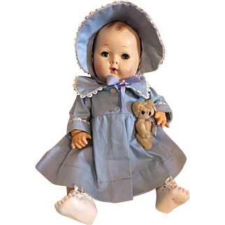 Original Blue Dy-Dee Baby Coat and Bonnet 1950s