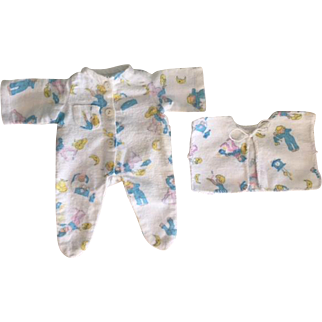 Effanbee Dy-Dee Baby Doll Drop-Seat Pajamas and Matching Bed Jacket