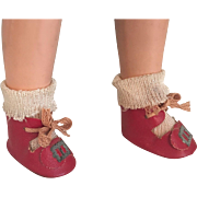 Red Oilcloth Shoes and Rayon Socks 1930s