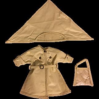 Ideal Shirley Temple Raincoat, Hat, Purse 1950s