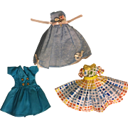 Three Fashion Doll Dresses for 10 l/2 dolls such as Little Miss Revlon 1950s