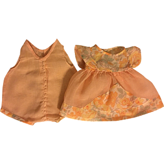 Peach Voile Dress and Chemise for Composition Dolls 1930
