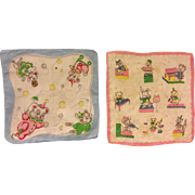 Two Child Colorful Handkerchiefs 1940