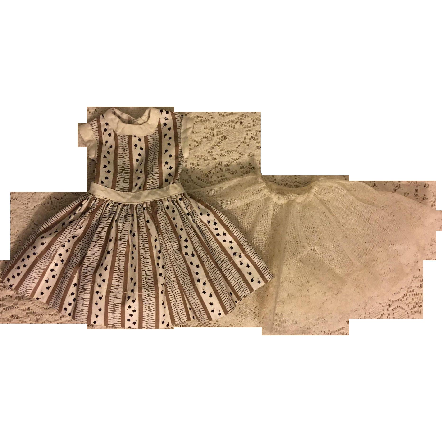 Dropped Waist Fashion Doll Dress and Slip 1950s