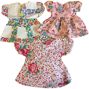 Three Doll Feedsack Dresses 1920s