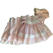 Pink Organdy Dress, Slip, and Bonnet for Baby Dolls 1950's