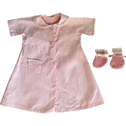 Pink Print Robe and Booties for Dy-Dee Lou 1950s