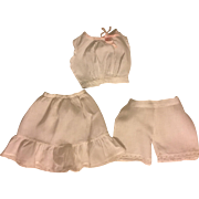 Three Piece Antique Slip Set: Chemise, Bloomers, and Slip 1900